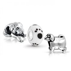 Cute Puppy Dog Bead Set 925 Sterling Silver Pandora Charms Compatible
