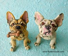 Two Custom French Bulldog Sculptures