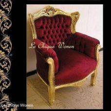Barok kindertroon jasmine  goud rood