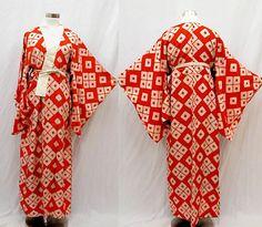Japanese Kimono / Antique Silk Boro Kimono Robe / 1930's / lingerie / 030901