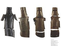 Armour worn by the Kelly gang. Left to right: Ned Kelly, Joseph Byrne, Dan Kelly, Steve Hart,
