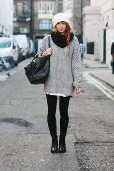 Totally me right now - big comfy sweater, leggings and beanie
