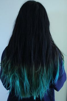 teal tips..love this! my hoop teacher has her hair like this, would SO do it if she didn't!!