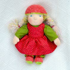 """Lovely waldorf doll Amanita 16""""( 41 cm) colorful dress red wich white dots, crochet shoes and cup."""