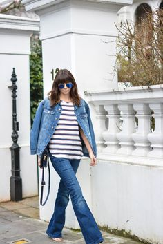 EJSTYLE-Emma-Hill-Double-denim-Spring-outfit-flare-jeans-stripe-HM-top-HM-denim-jacket-navy-bag-OOTD.jpg 1,068×1,600 pixels