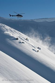 Heliskiers Being Followed by the Heli at Bella Coola Heli Sports
