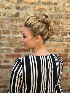 a faux hawk can be classy + professional, just add a cute striped or patterned top + curls like this client did to soften this edgy updo | hair + makeup by goldplaited