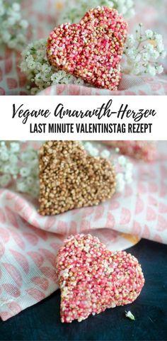 Last Minute Valentinstag Rezept: Amaranth Herzen mit Mandelmus, vegan, schnell und einfach!