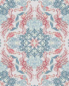 Vintage Fancy - a Pattern in Pale Blue, Navy & Deep Rose Art Print by micklyn Textures Patterns, Fabric Patterns, Print Patterns, Framed Prints, Canvas Prints, Art Prints, Pattern Art, Pattern Design, Unique Wall Art