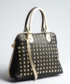 Betsey Johnson black and tan studded faux leather 'Spring Suddin' convertible dome satchel