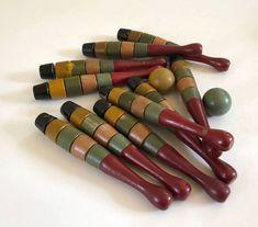 10 Wooden Bowling Pins w 2 Balls / Complete 10-Pin Skittles Bowling Set w 2 Balls / Vintage Antique Toys / European Wooden Skittles Set