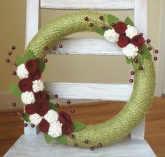 """Christmas Felt Flower Wreath - Yarn and Felt Wreath - 14"""" size - Ready to ship on Etsy, $44.95"""