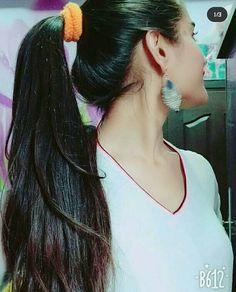 Long Ponytail Hairstyles, Long Hair Ponytail, Braids For Long Hair, Indian Hairstyles, Wavy Hair, Cute Hairstyles, Beautiful Long Hair, Amazing Hair, Ponytail Scrunchie