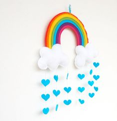 Rainbow  Clouds Raining Love Hearts Mobile  A by therainbowroom, $52.50