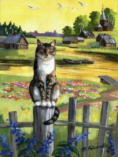 Village kitty sitting on the fence / cat art I Love Cats, Crazy Cats, Cool Cats, Image Chat, Photo Chat, Illustration Art, Illustrations, Cat Drawing, Cat Art