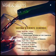 Reward yourself and your loved ones with a one of a kind wine experience brought to you by the number 1 #WineStore in #Knoxville. This month's mash up of great wines, spirits and food will surely leave you wanting more! Save the dates below!  Visit our website: http://www.campbellstationwine.com/