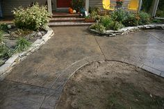 Colored Concrete Patio | Ryan Job - Seamless stamped concrete patio and sidewalk with segmented ...