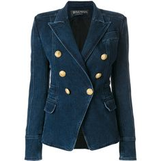 Balmain Double-Breasted Cotton Jacket ($1,590) ❤ liked on Polyvore featuring outerwear, jackets, blue, collar jacket, blue blazer jacket, blue blazer, blue cotton blazer and balmain jacket