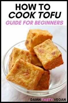Everything you need to know about cooking with tofu.  Why there are different types of tofu and how to use each one. If you should press tofu or not. How to press tofu if you don't have a tofu press.  How to bake, scramble and pan fry tofu. How to cook crispy tofu.  Delicious tofu sauces and more #tofu #tofurecipes #crispytofu #vegan High Protein Vegan Recipes, Delicious Vegan Recipes, Vegan Snacks, Vegetarian Recipes, Tasty, Vegan Meals, Easy Tofu Recipes, Vegan Vegetarian, Vegetarian Dinners
