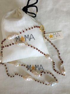 Collana in argento, radice di Rubino e perle barocche...