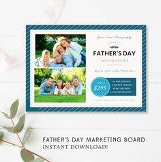 Father's Day Mini Session Marketing Board - Daddy & Me Marketing Board - Daddy and Me Photo Session - Fathers Day Mini Session Template by ByStephanieDesign on Etsy