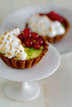 Lime Curd Tartlets with Raspberries and Red Currants.