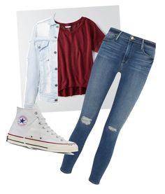 """""""School"""" by whitwhitmartin on Polyvore featuring American Eagle Outfitters, Frame Denim and Converse"""