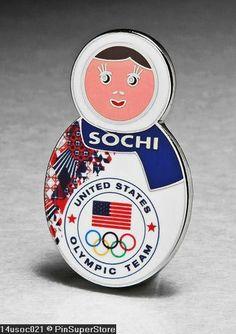OLYMPIC PINS BADGE 2014 SOCHI RUSSIA TEAM USA USOC MATRYOSHKA BABUSHKA DOLL