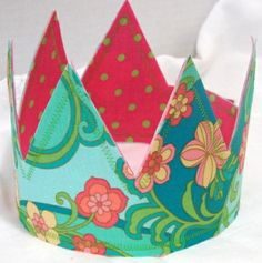 Pink Green and Aqua Reversible Fabric Crown Fit for by whimsywendy, $15.00