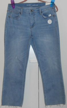 73a7cf7d8e9 WOMEN S OLD NAVY LIGHT WASH DISTRESSED DESTRUCTED CROPPED FLARE ANKLE JEANS 10   fashion  clothing