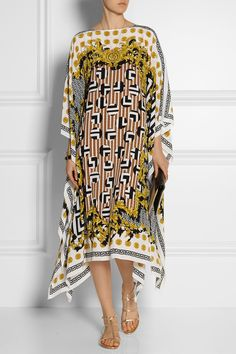 Versace | Printed silk-chiffon kaftan | NET-A-PORTER.COM