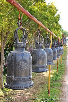photos of ancient thailand | The Row Of Thai Style Ancient Bells Stock Photos - Image: 21773823