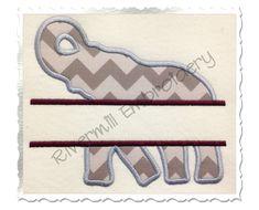 {splitelephant.zip K.H.} $2.95Split Applique Elephant Silhouette Machine Embroidery Design
