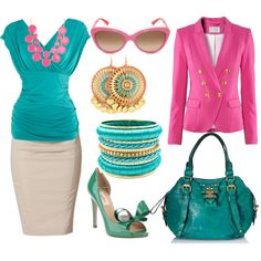 Summer Business Casual, created by vickiefeitl