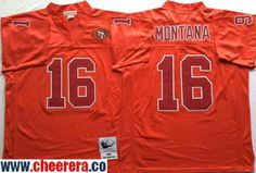 Men's San Francisco 49ers #16 Joe Montana Red With Red Throwback Jersey By Mitchell & Ness
