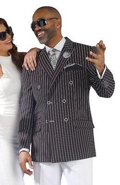 New E J Samuel 2 PC Double Breasted Black White Fashion Pinstripe Suit M2682 | eBay