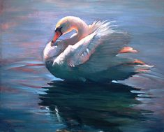 Park Swan Wood Print by Donna Bingaman Paintings I Love, Animal Paintings, Beautiful Paintings, Swan Painting, Chicken Painting, Beautiful Posters, Watercolor Animals, Portrait Art, All Art