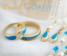 Beautiful turquoise and gold wedding rings from our Desert Oasis collection.