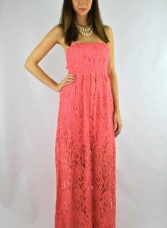Coral Strapless Lace Maxi Dress with Knot Tie Back,  Dress, maxi dress  lace  strapless, Chic #coral #strapless #lace #maxi #dress #sleeveless #cute #chic #trendy #style #fashion www.UsTrendy.com