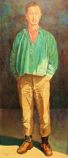 Zelfportret in deuropening van atelier, 1959.