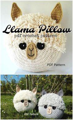 Adorable alpaca or llama pillow crochet pattern These are so cute crochet pattern llama alpaca pillow crochetpattern decor crafts yarn craftevangelist Crochet Home, Crochet Gifts, Cute Crochet, Easy Crochet, Knit Crochet, Crochet Stitches, How To Crochet, Things To Crochet, Crochet Pillow Pattern