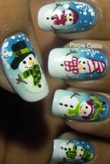Snowmen Nails - Winter Christmas Nail Art