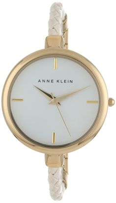Anne Klein Women's AK/1198WTWT Gold-Tone White Woven Leather Rope Strap Watch : Disclosure: Affiliate link