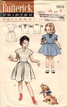 1950s Butterick 5616 Vintage Sewing Pattern Girl's Scalloped Sleeved Dress and Blouse Size 6 di midvalecottage su Etsy https://www.etsy.com/it/listing/233600192/1950s-butterick-5616-vintage-sewing