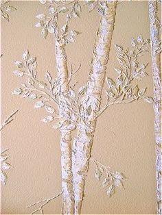 Raised Wall Art Trees - Created with Stencils and White Tub & Tile Caulking Plaster Art, Plaster Walls, Plaster Crafts, Faux Walls, Decorative Plaster, Brick Walls, Gesso Art, Cuadros Diy, Stencil Art