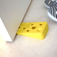 SWISS CHEESE DOOR STOP - STOPPER- FUN - UNIQUE - NEW