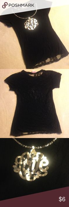 "Love 💞 Shirt Size M ✨ Full Lace Back Black and silver ""Love"" shirt. Full black lace back. Size medium. Good condition. Miss popular Tops Tees - Short Sleeve"