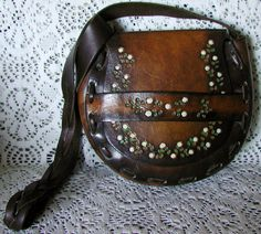 Sweet Lil Vintage Hand Tooled Leather 1970s Hippie Boho Bag