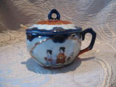 VINTAGE JAPANESE KUTANI JAM JAR GEISHA GIRL FLOW BLUE Honey Jars, Jelly Jars, Jam Jar, Geisha, Vintage Japanese, Mustard, Tea Pots, Flow, Tableware