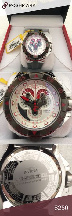 Invicta Reserve Excursion Men's Watch Watch was worn twice. In like new condition. Stainless steel case with a grey polyurethane strap. Red dial and hands with dot hour markers. Date display around inner rim. Minute markers around outer rim. Month display at the 2 o'clock position. Day of the week display at the 10 o'clock position. Chronograph - three sub-dials displaying: 60 second, 30 minute and 1/10th of a second. Quartz movement. Case diameter: 50 mm. Band width: 30 mm. Water resistant…